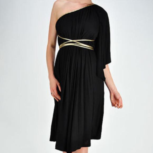 Symphony Dresses Black Gold Belt One Shoulder Grecian Dress Large